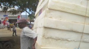 These were stacked on a hand truck. This was the default type of mattress for most of our trip.