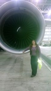 At the Delta hangar ... just hanging out by an engine, as one does