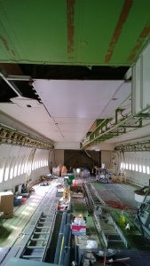 Working on the first 747 ceiling panels